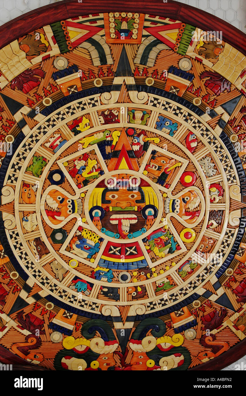Aztec Calendar Made From Small Pieces Of Colored Wood Mexico Stock