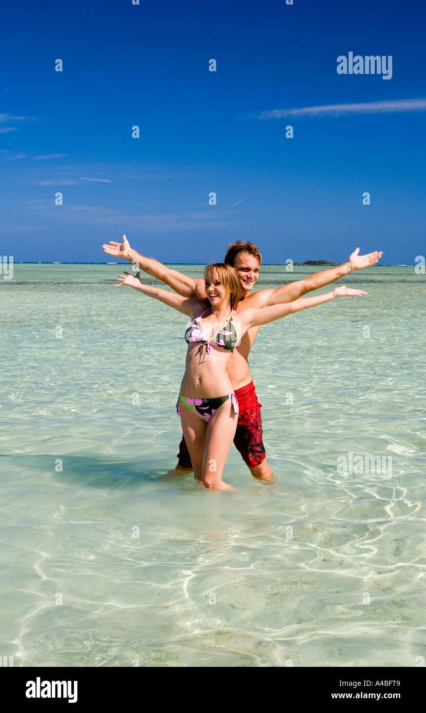 vacationers at the sandbar in kaneohe bay - Stock Image