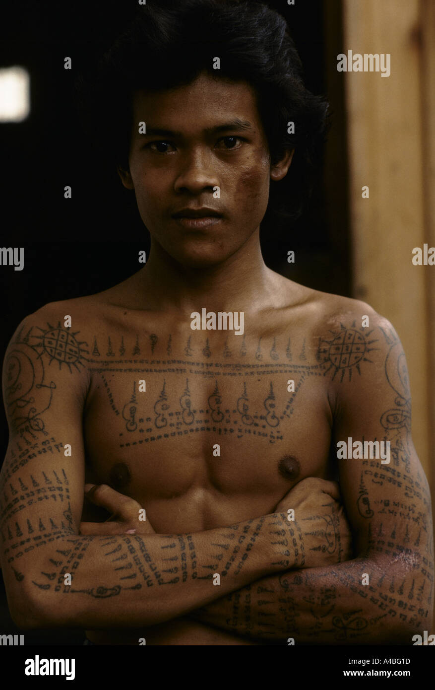 The Teenaner He Has Traditional Khmer Tatoos On His Chest Yantra Tattooing Also Called Sak Yant Ancient Script Writing Tattoos Are Believed