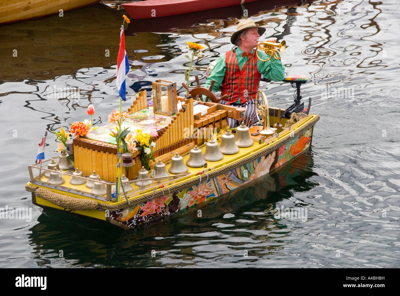 This unusual Dutch music boat Cecilia serenades the craft at the Australian Wooden Boat Festival 2007 in Hobart - Stock Image