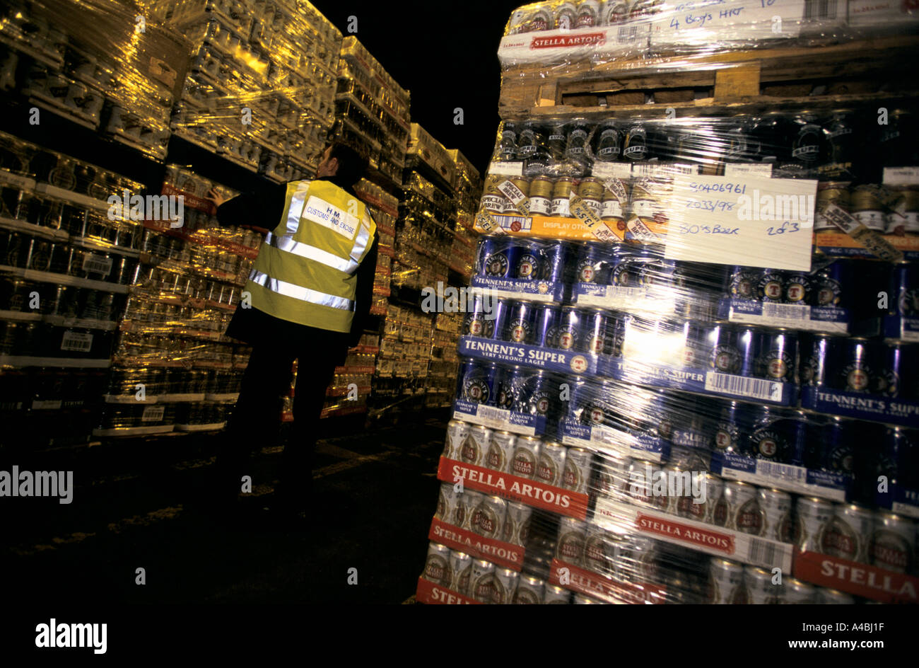 Quantities of canned beer confiscated by UK Customs and Excise officers at Dover port from people trying to smuggle. - Stock Image