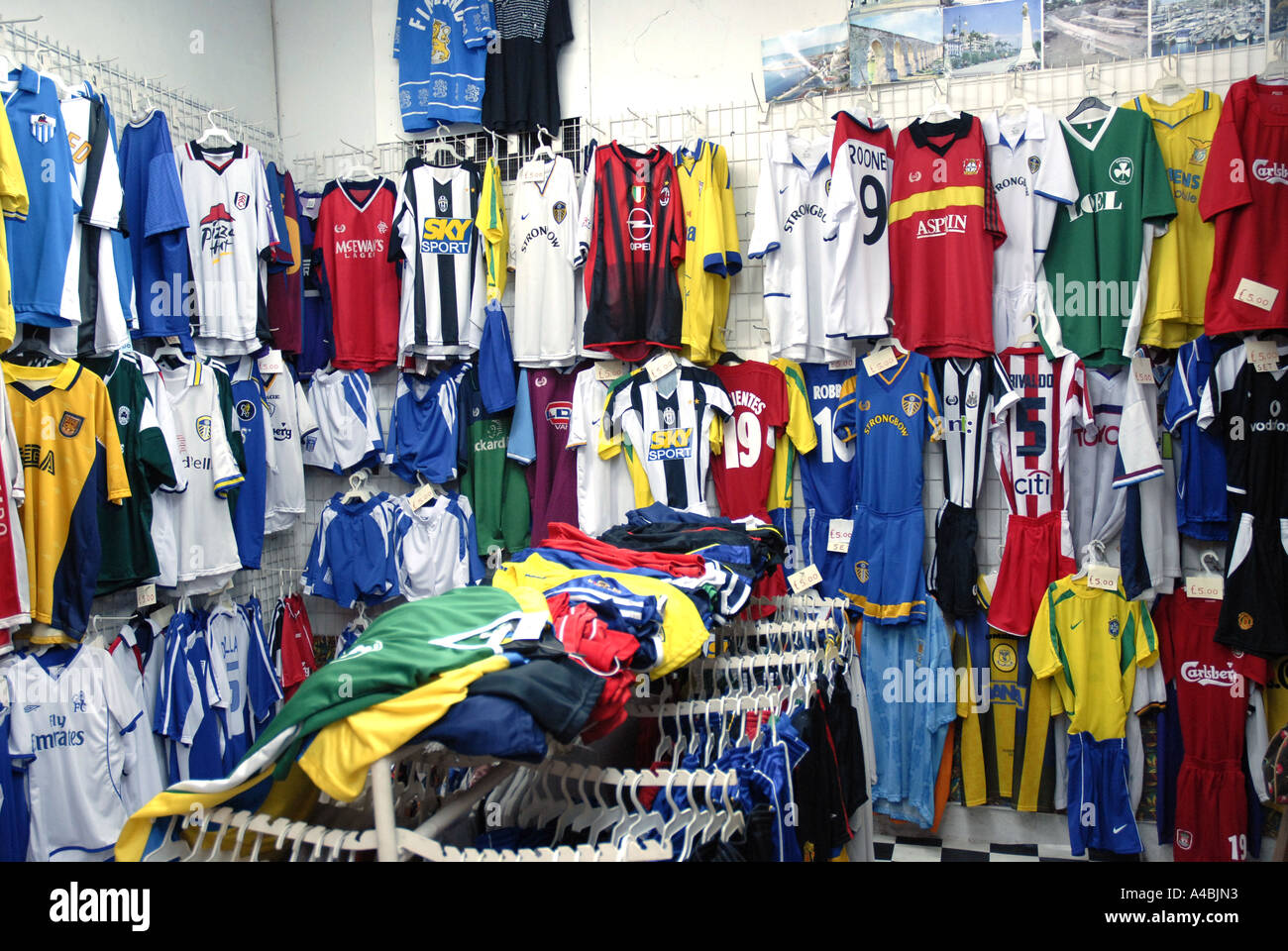 Football shirts in a shop Larnaka Cyprus Stock Photo  6284498 - Alamy a76afc857f5c