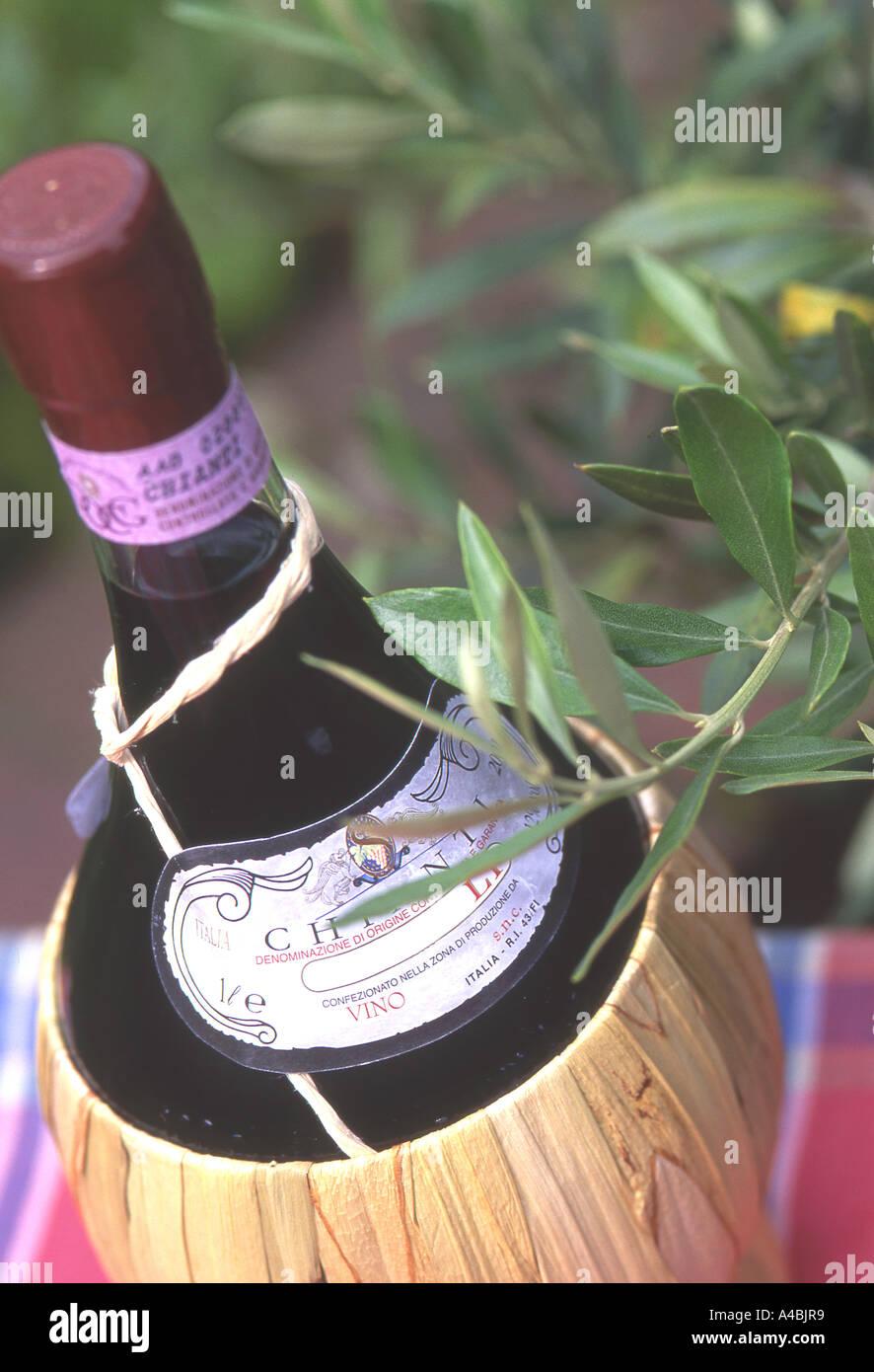 Bottle of the famous Italian wine : Chianti (Tuscany-Italy Stock