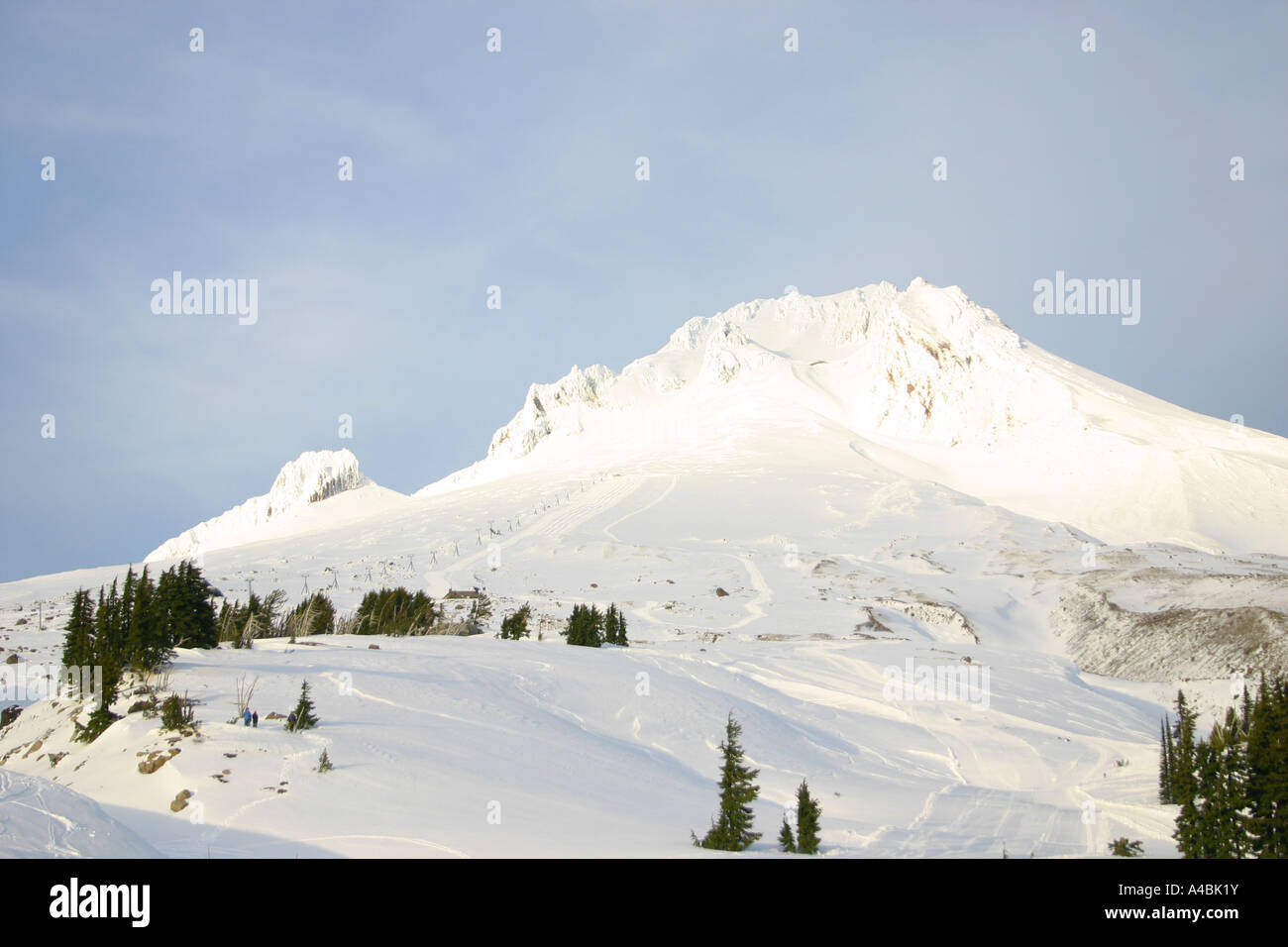 39,069.09708 snow covered Mount Hood -- 11,235 ft in the middle of Winter Paradise. - Stock Image