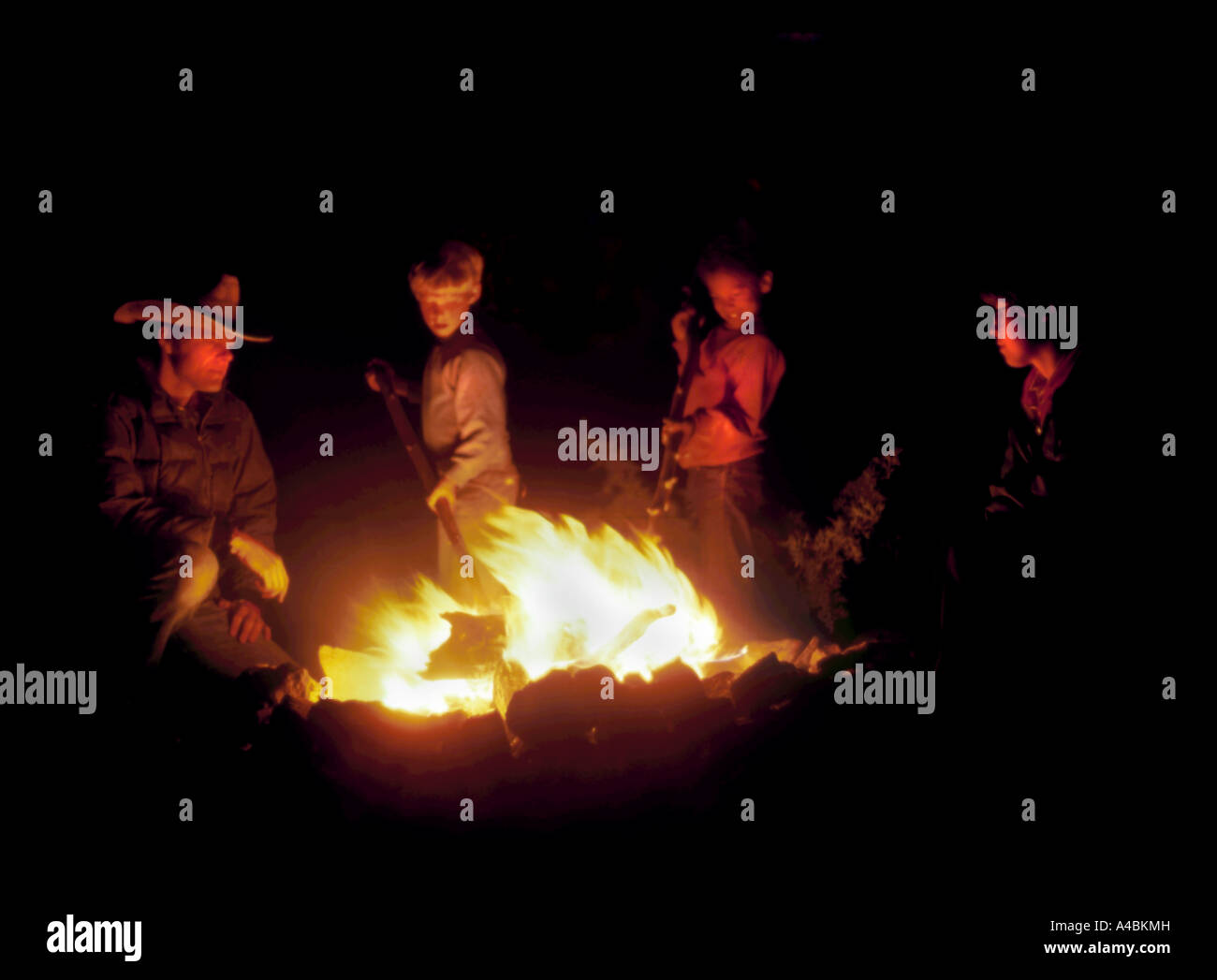 Family Night Campfire Fun Camping Explore Laugh Together Happy Content