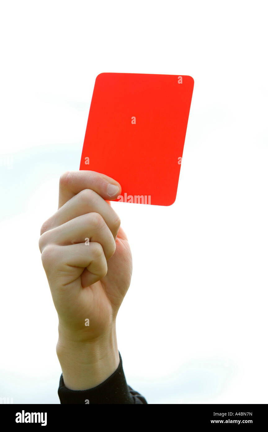 Fussball, soccer referee showing the red card - Stock Image