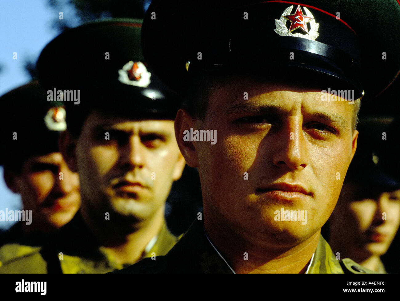 KGB border guards on parade, Gursfuv, the Crimea, Russia June 1990 - Stock Image