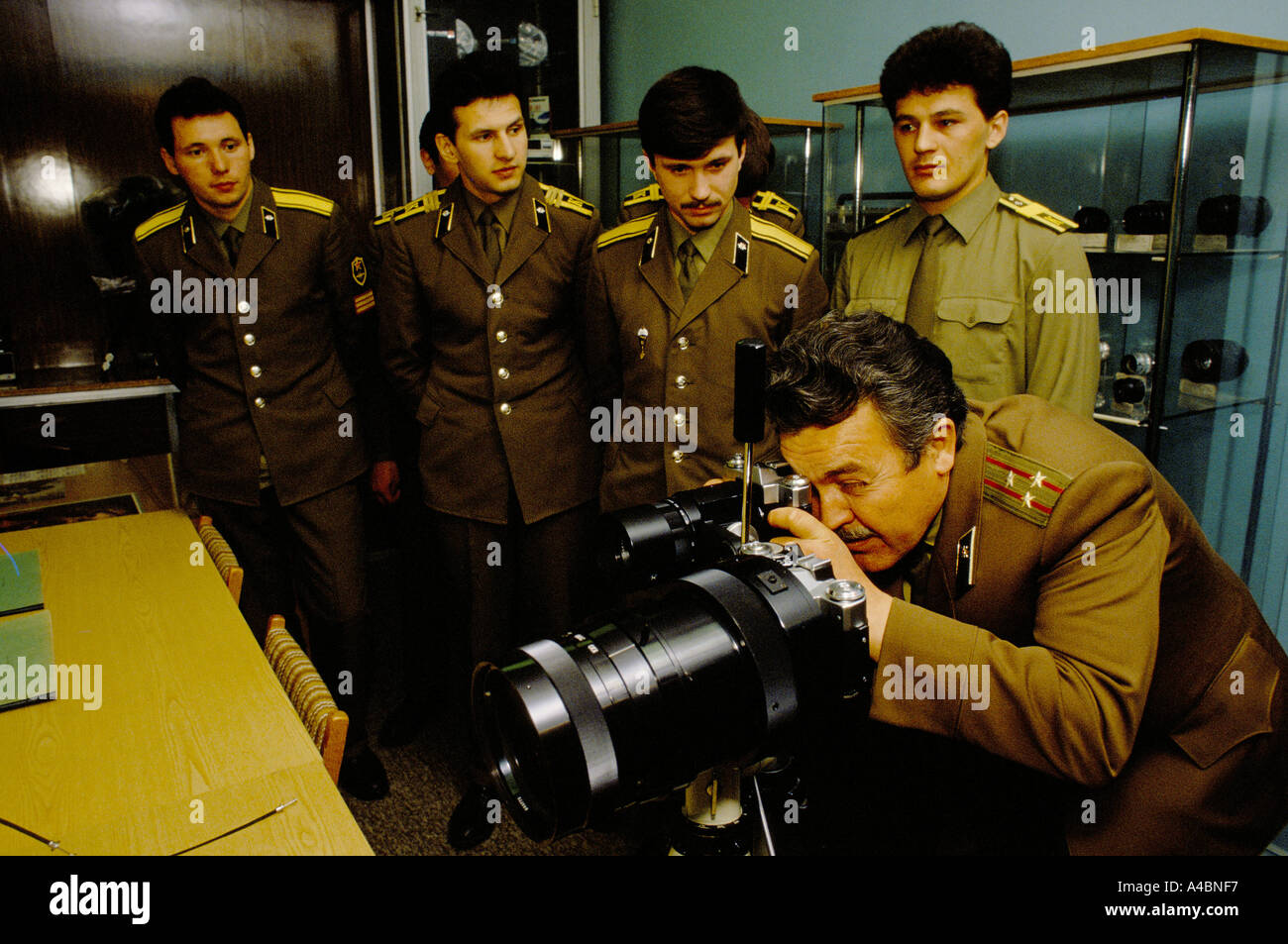 KGB's training school, Moscow, Russia, USSR 1990. Teaching professor and students in the photo-forensic section - Stock Image