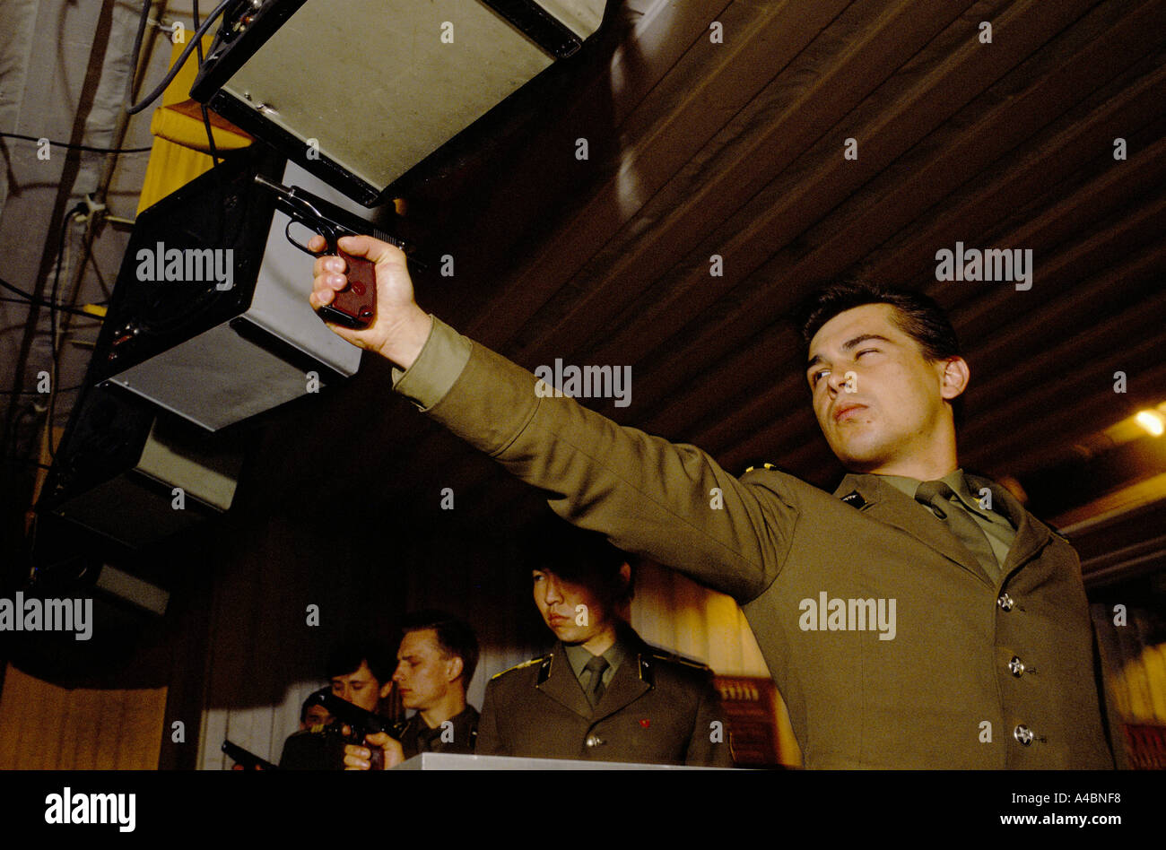 Target practice in the KGB's training school, Moscow, Russia, USSR, using the KGB's standard 9mm hand gun 1990 - Stock Image