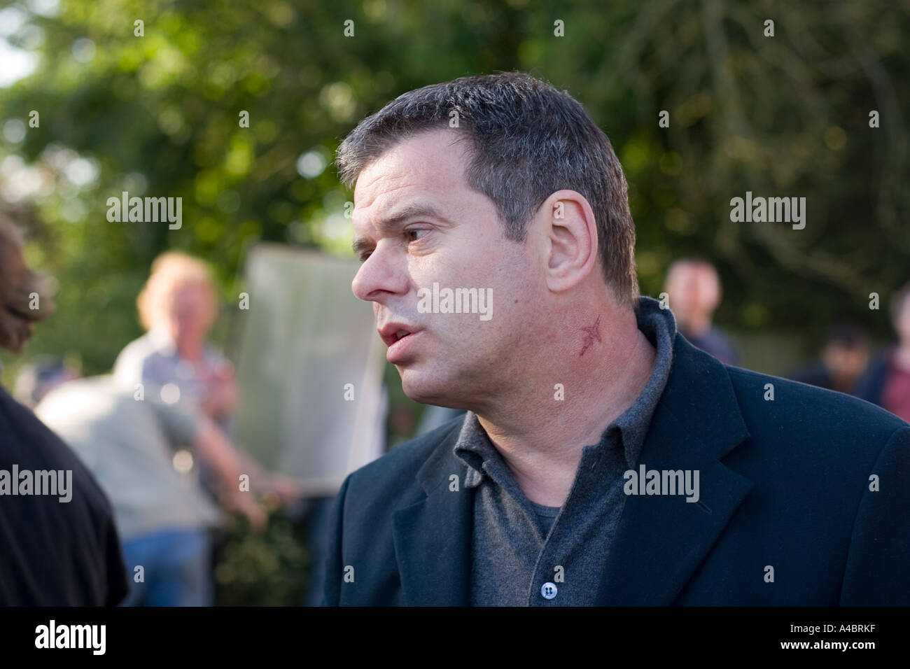 Jean Jacques Burnel, lead bass of rock band Stranglers, during filming of Norfolk Coast in June 2005 Stock Photo