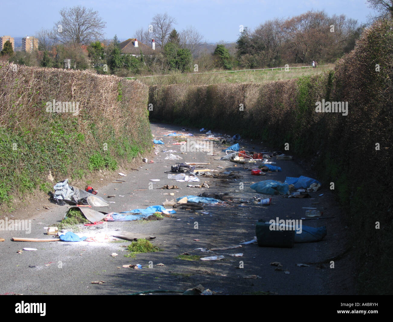 Fly tipping rubbish on Road in Chelsfield Bromley London UK Stock Photo