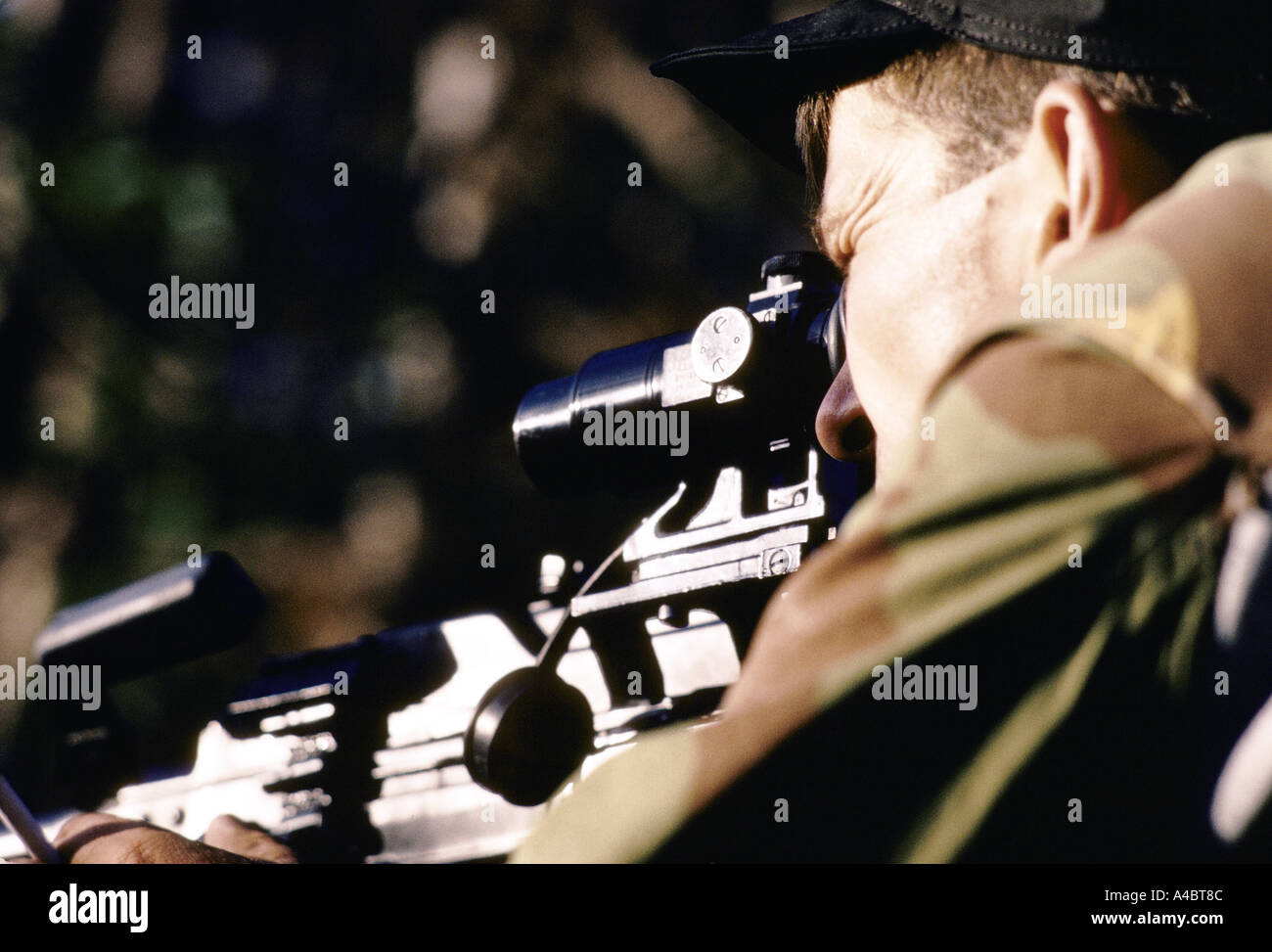 Serbian sniper at a Bosnian Serb front line position near Lukavica over looking the city of Sarajevo,  Sept 1992 - Stock Image