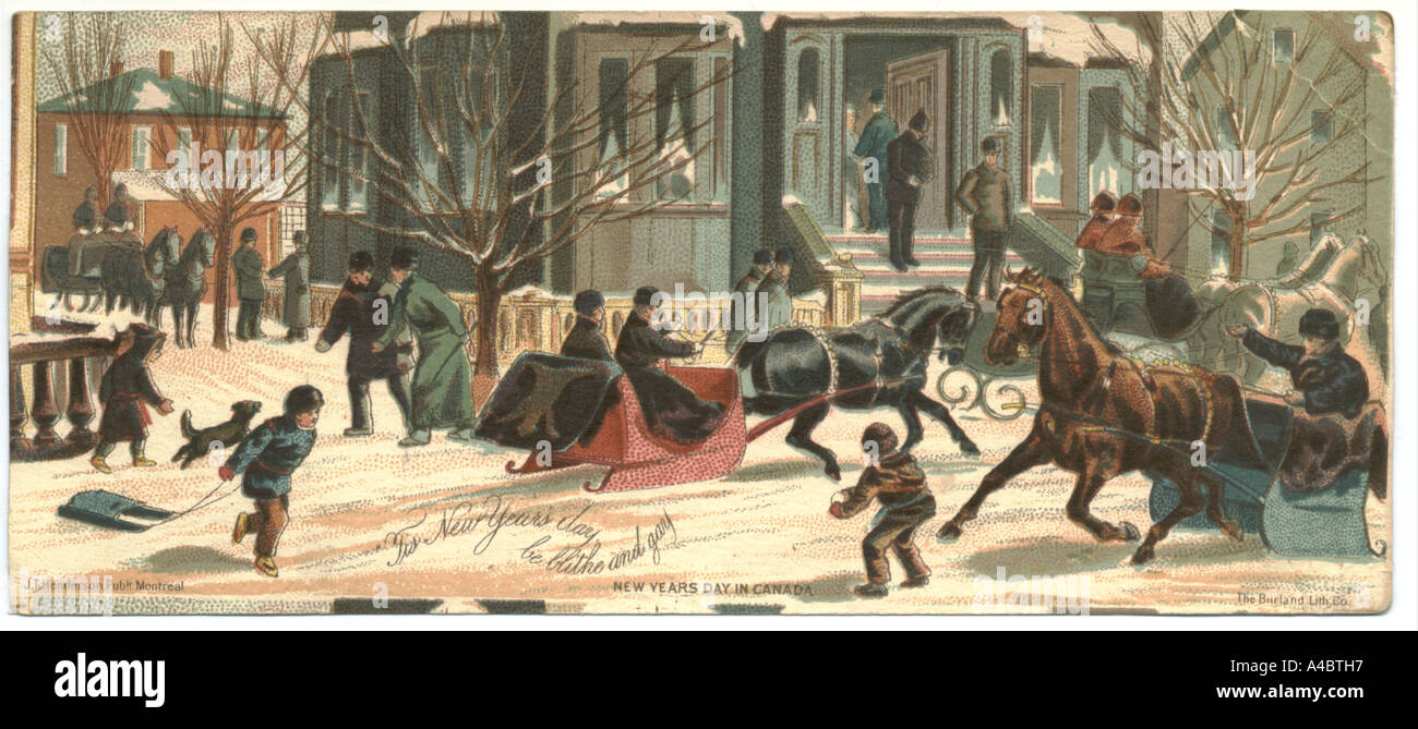 New Years Day In Canada Greeting Card Circa 1890 Stock Photo