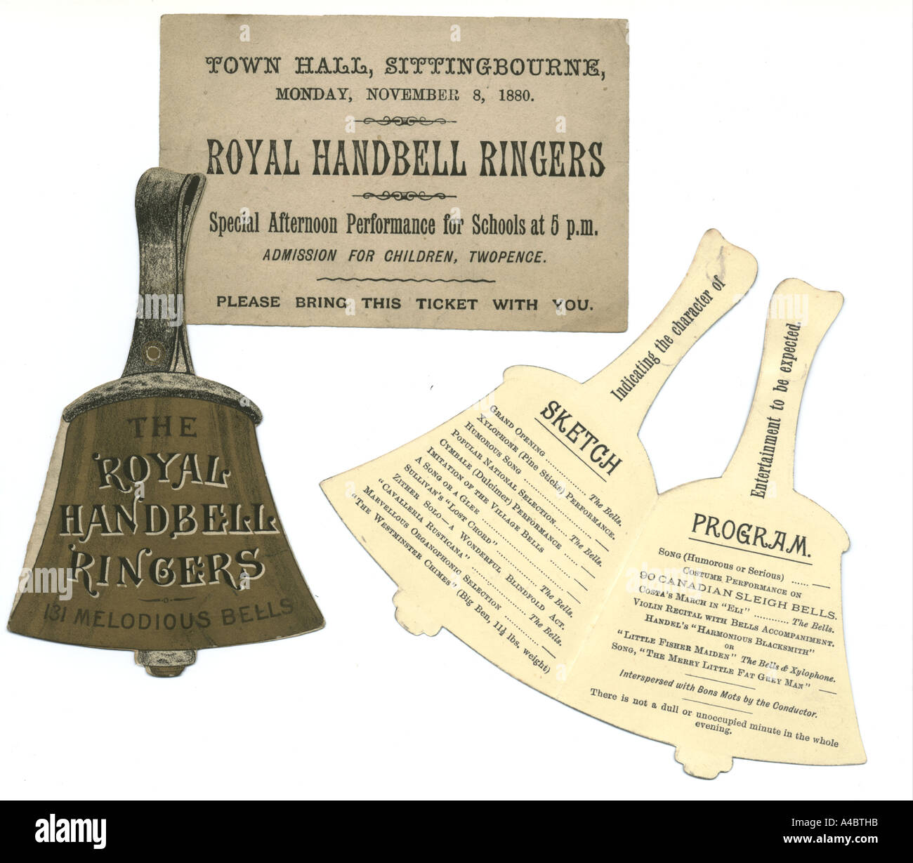 Royal Hand bell Ringers advertisements and concert admission ticket 1890. - Stock Image