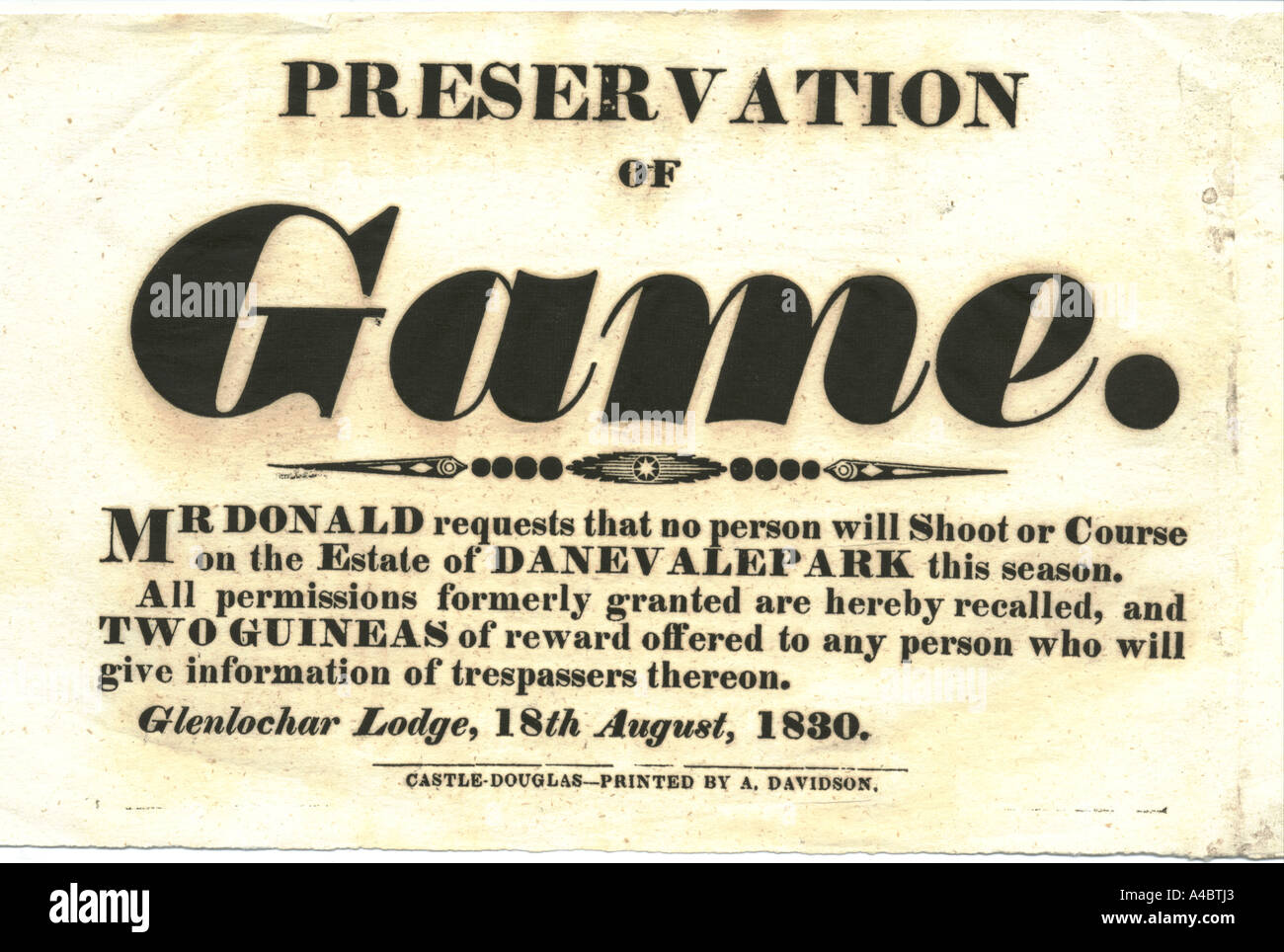 Game notice 1830 - Stock Image