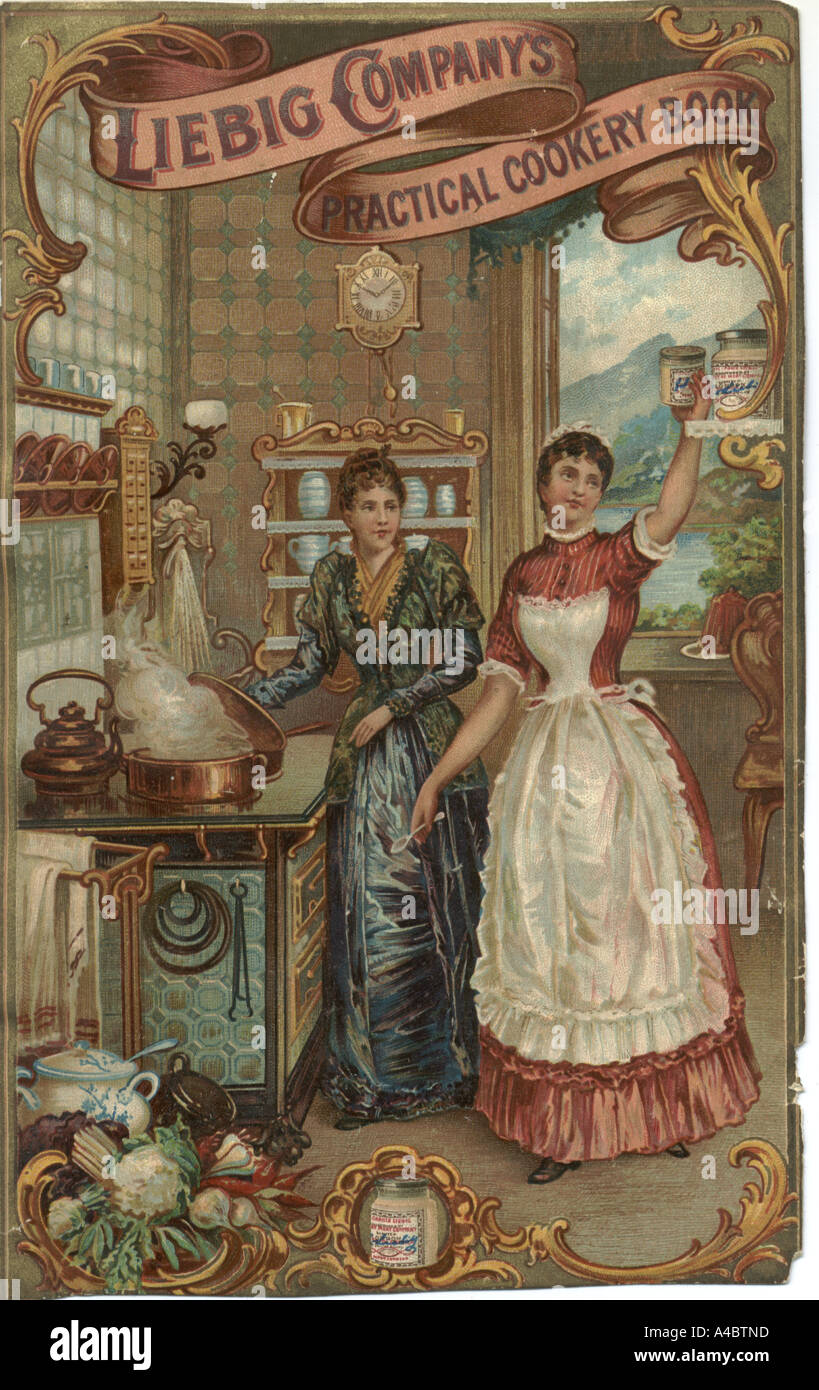 Cookery book cover from Liebig circa 1880 - Stock Image