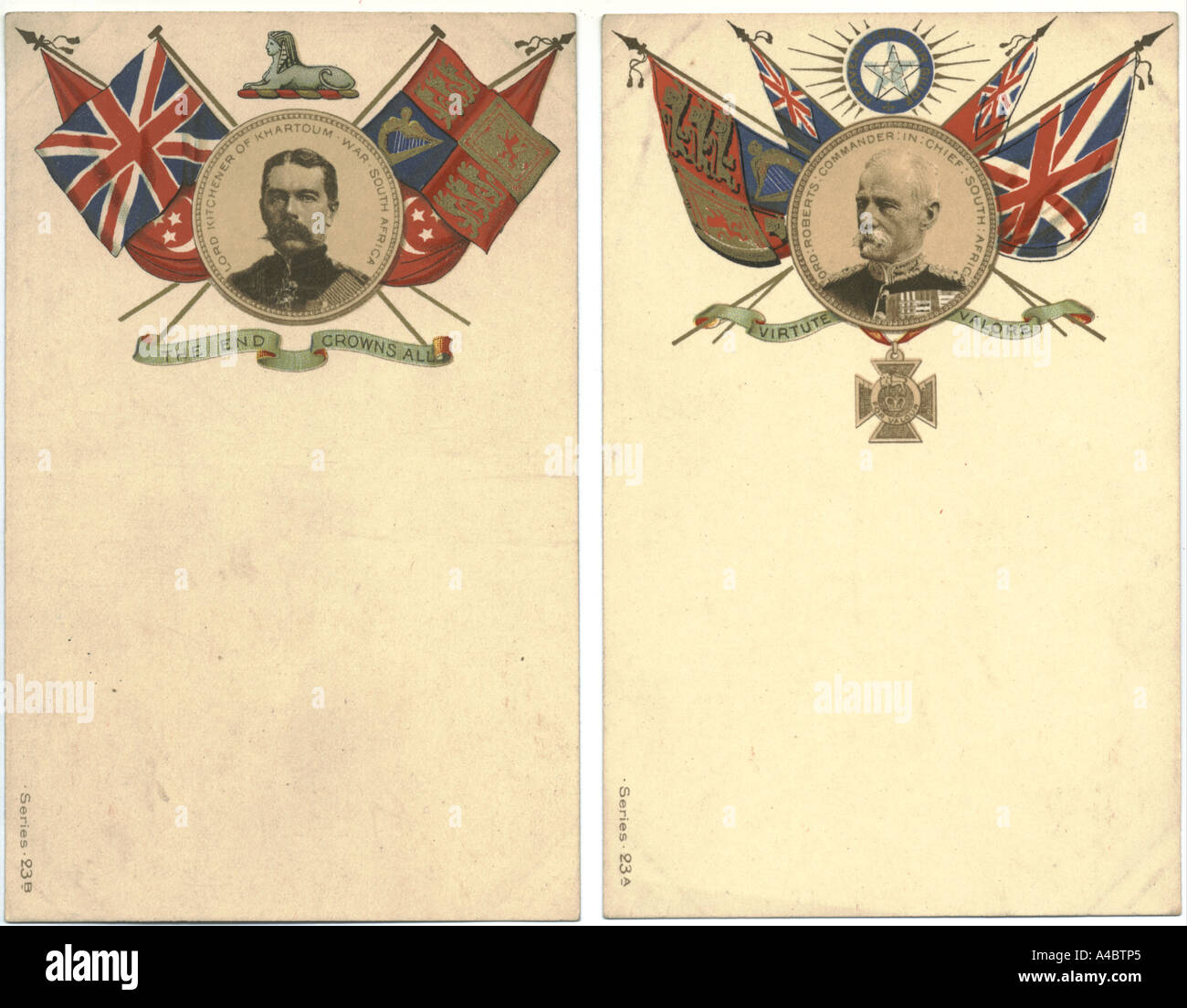 Boer war patriotic postcards circa 1901 with Lord Kitchener and Lord Roberts - Stock Image