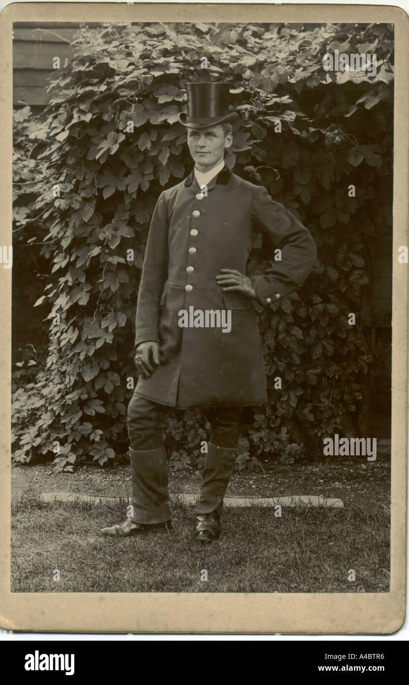 Coachman circa 1890 cabinet photograph - Stock Image