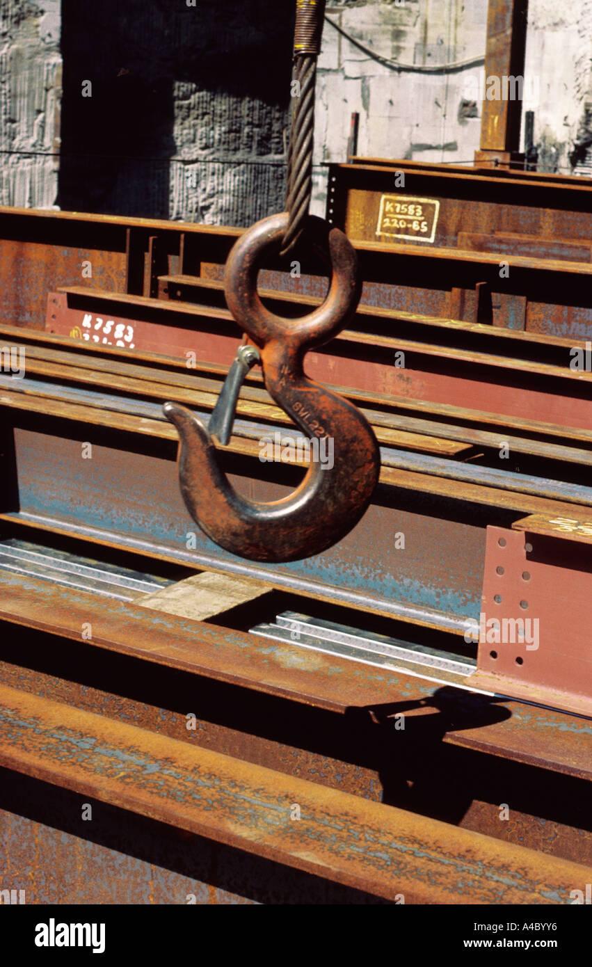 USA New York City Construction Site Hoisting Hook Manhattan - Stock Image