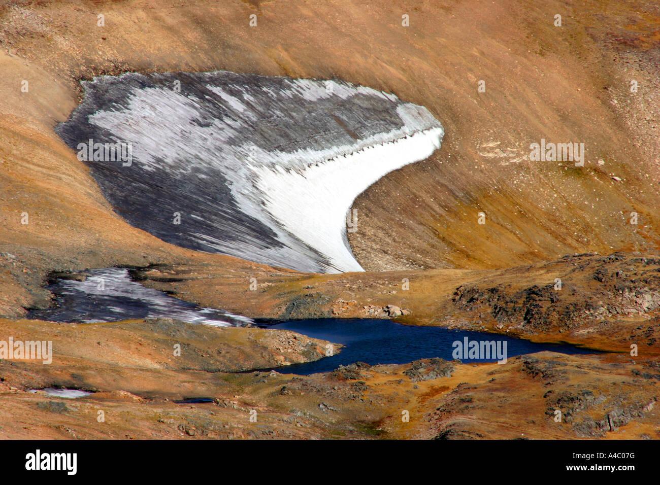 snow fields on the beartooth plateau, wyoming Stock Photo