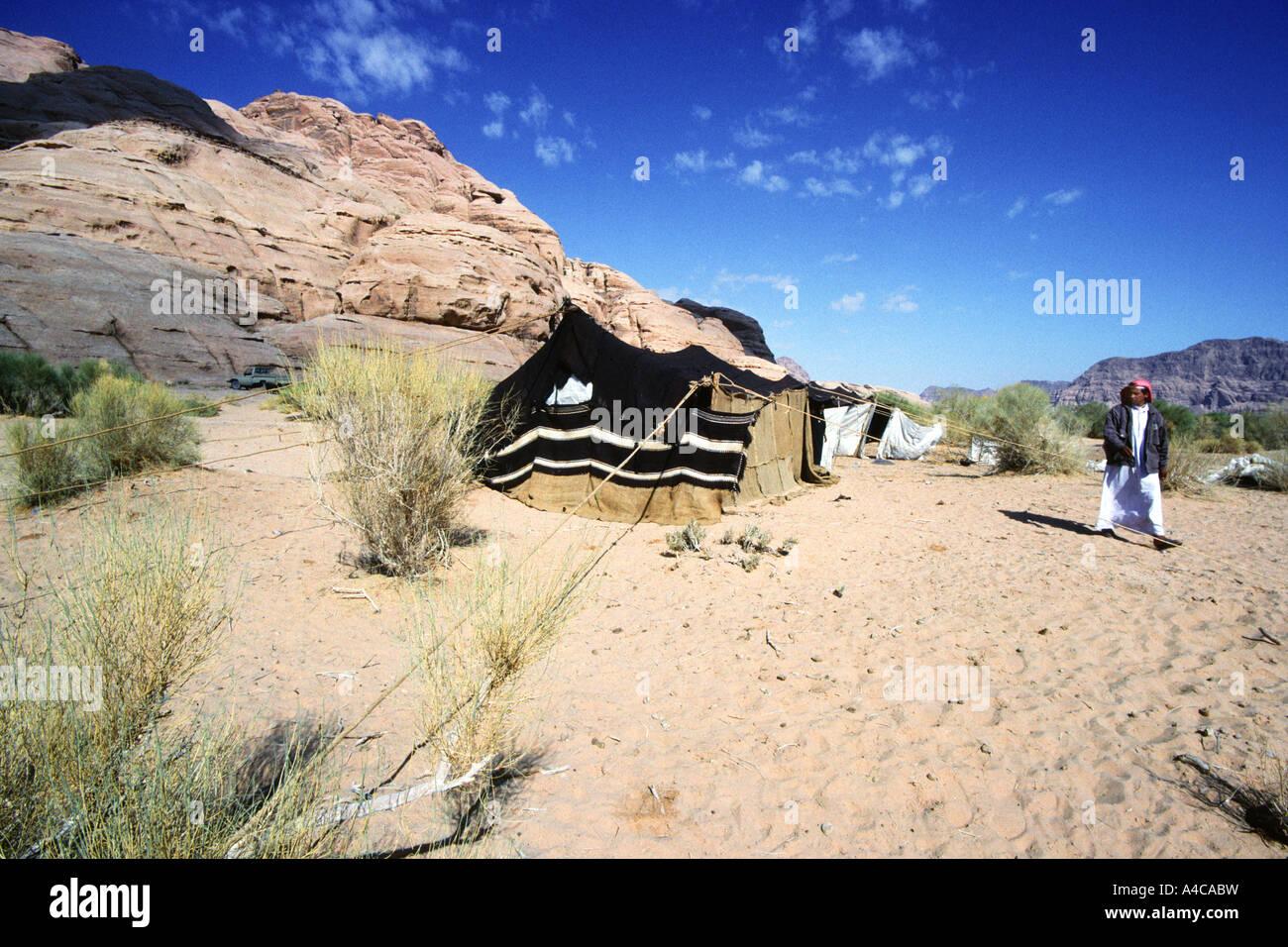 bedouin camp, wadi rum, jordan Stock Photo