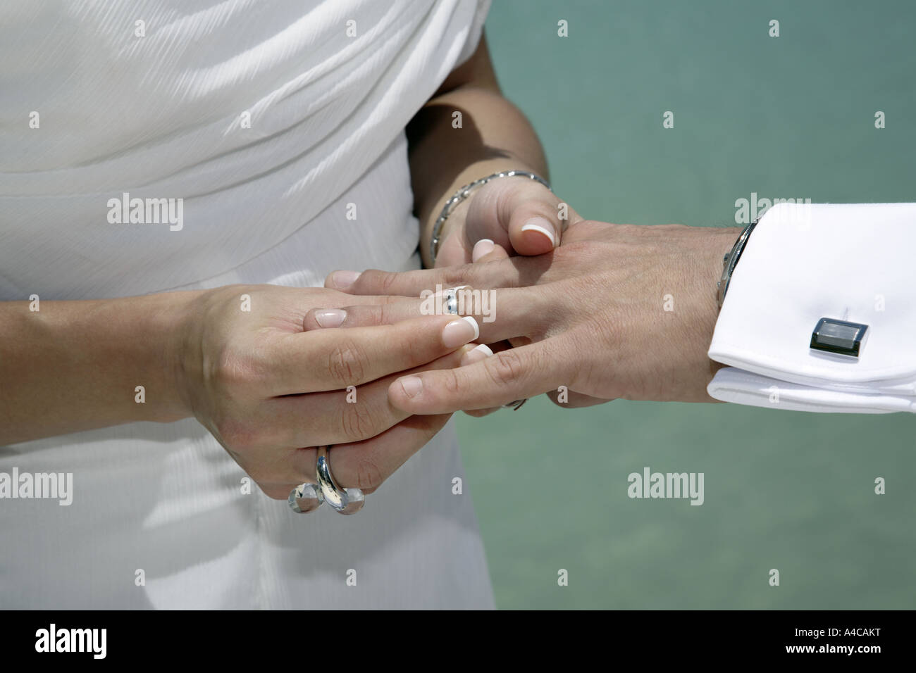 close up of a woman's hand putting wedding ring on man's hand - Stock Image
