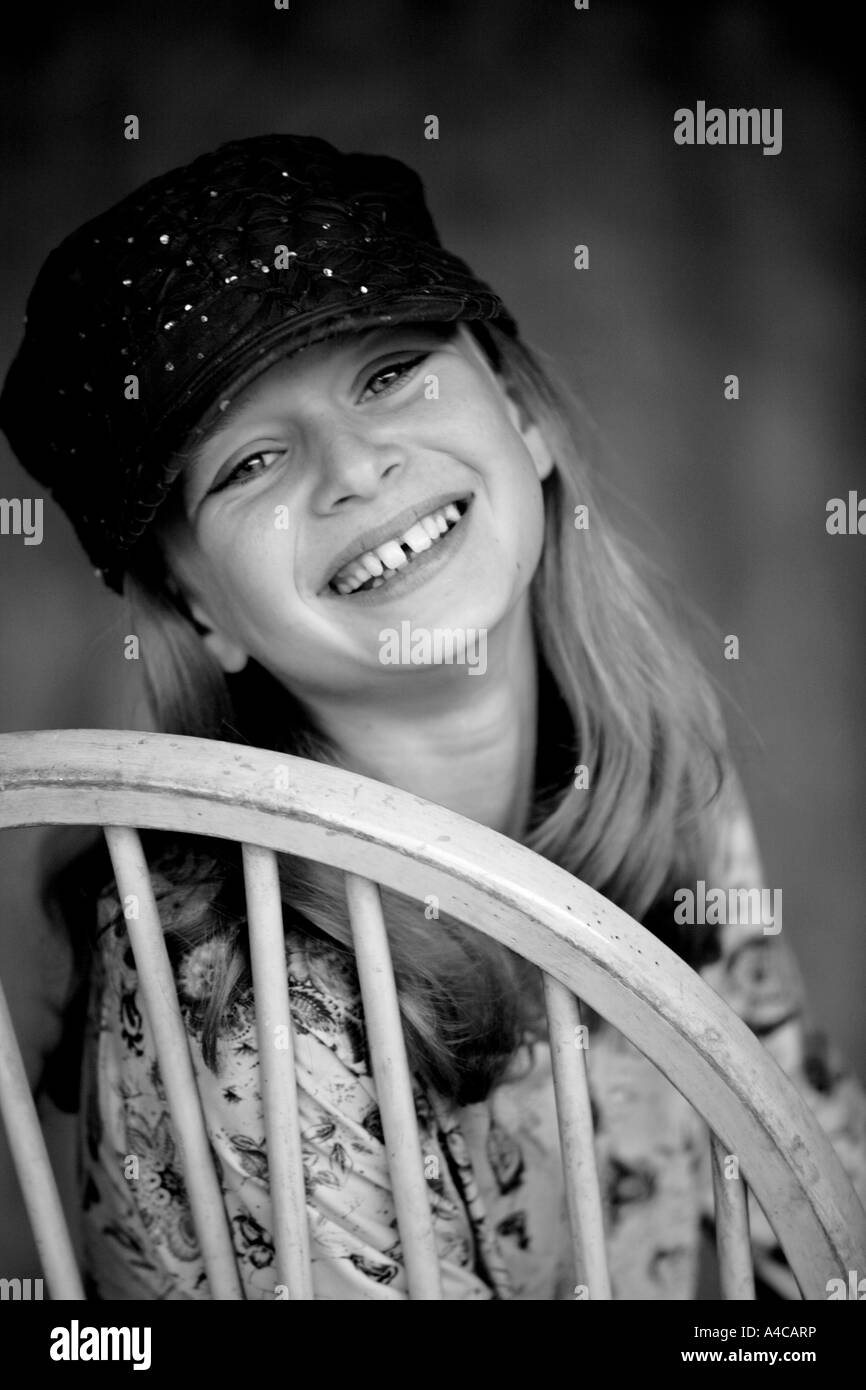 A ten year old girl model released - Stock Image