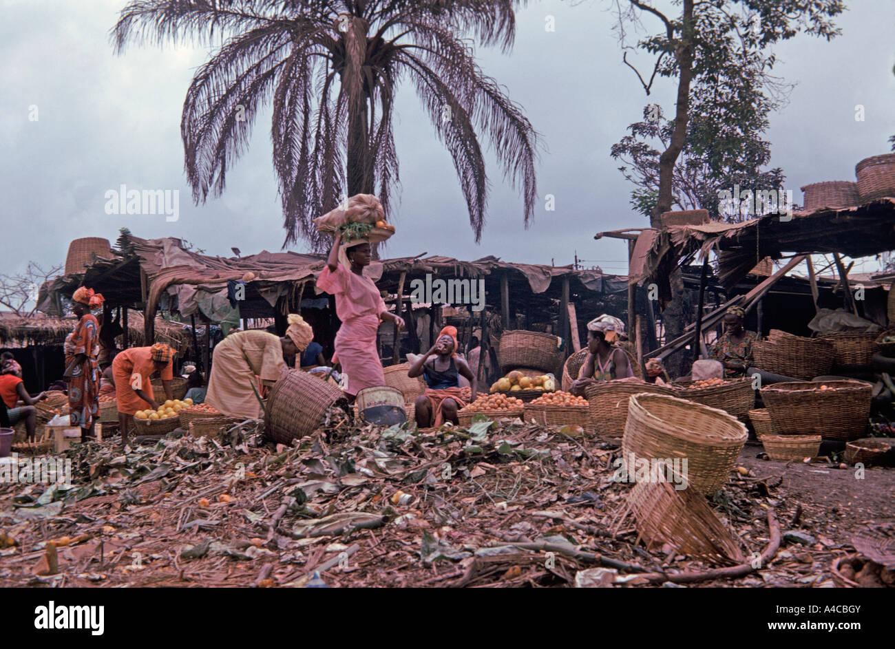 Local market in Lagos Nigeria - Stock Image