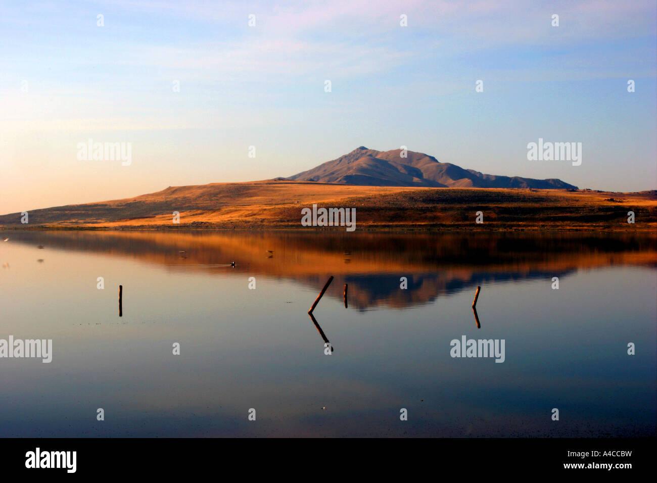 antelope island reflection, great salt lake, utah Stock Photo
