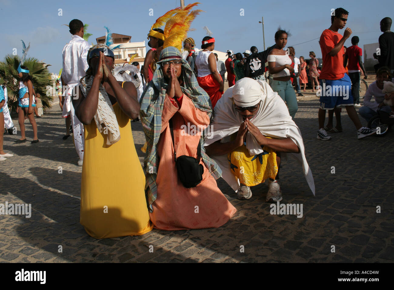 Mocking Islamic prayers during the carnival Sal Santa Maria - Stock Image