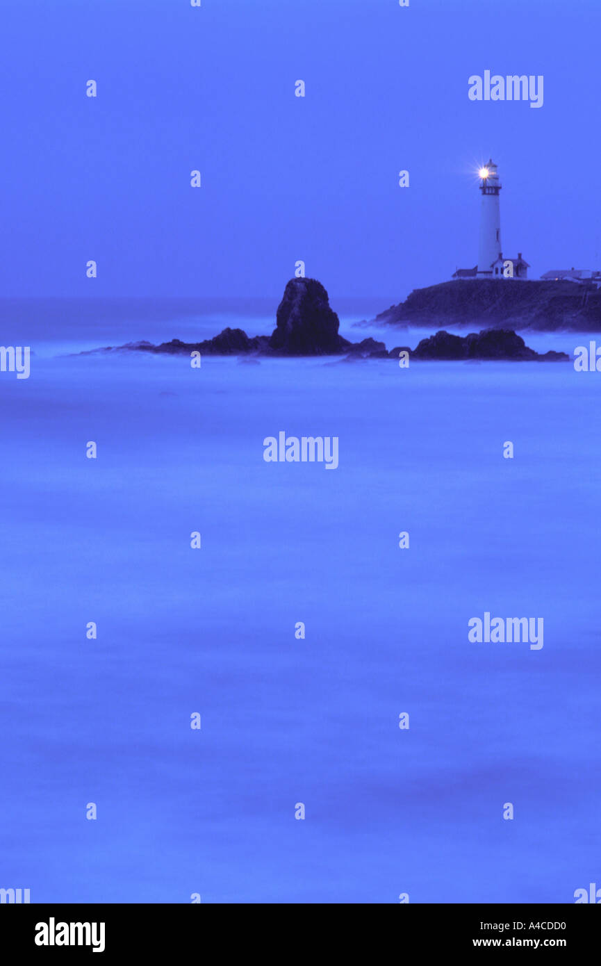 Pidgeon Point lighthouse at dusk with blurred water in foreground Pidgeon Point California USA - Stock Image