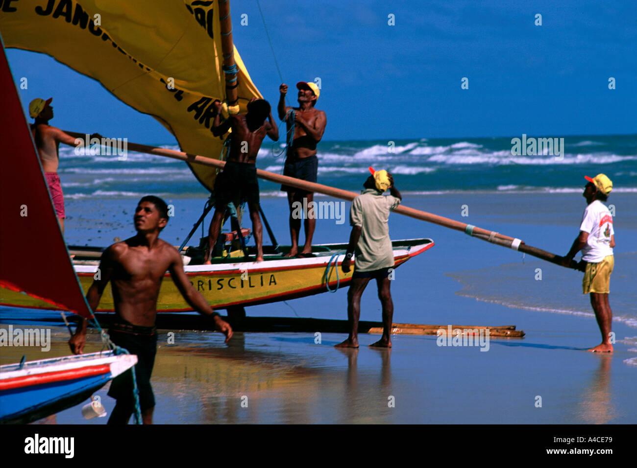 Fishermen preparing to go out to the sea Brazil Stock Photo
