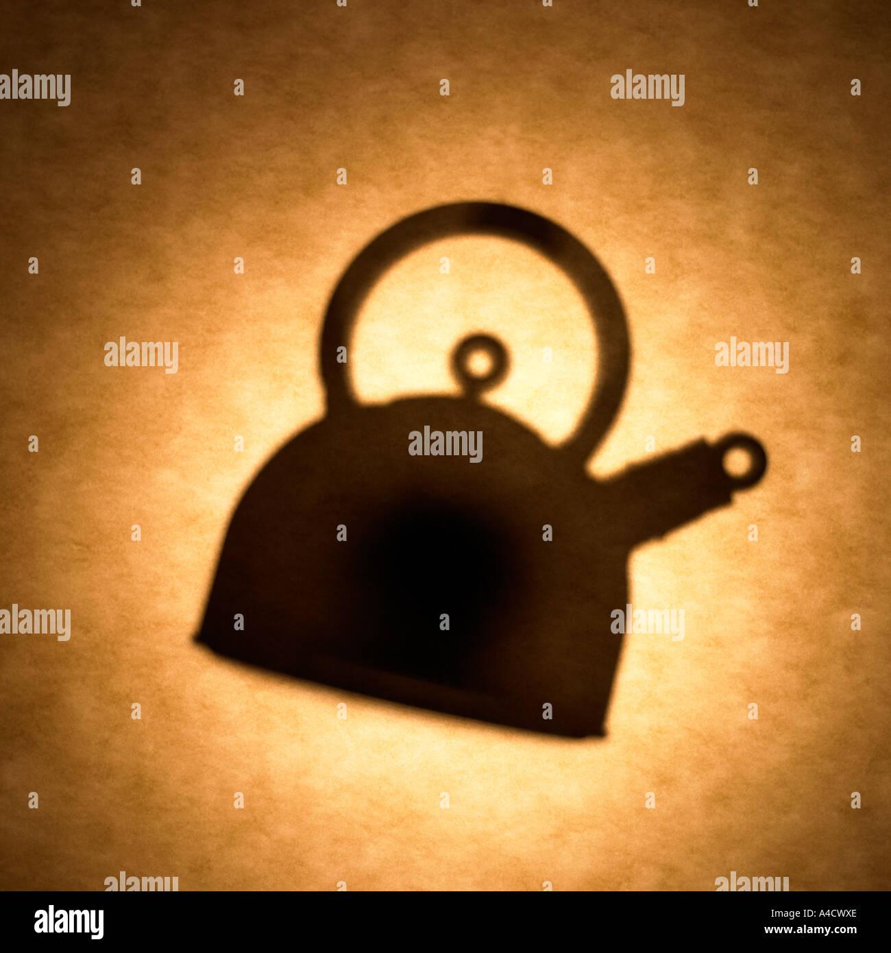 Tea kettle silhouette - Stock Image