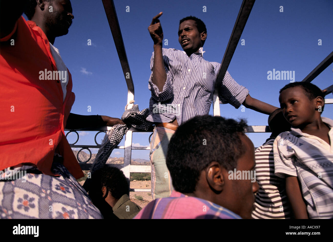 Travelling on the back of a truck to Tadjoura,  Republic of Djibouti - Stock Image
