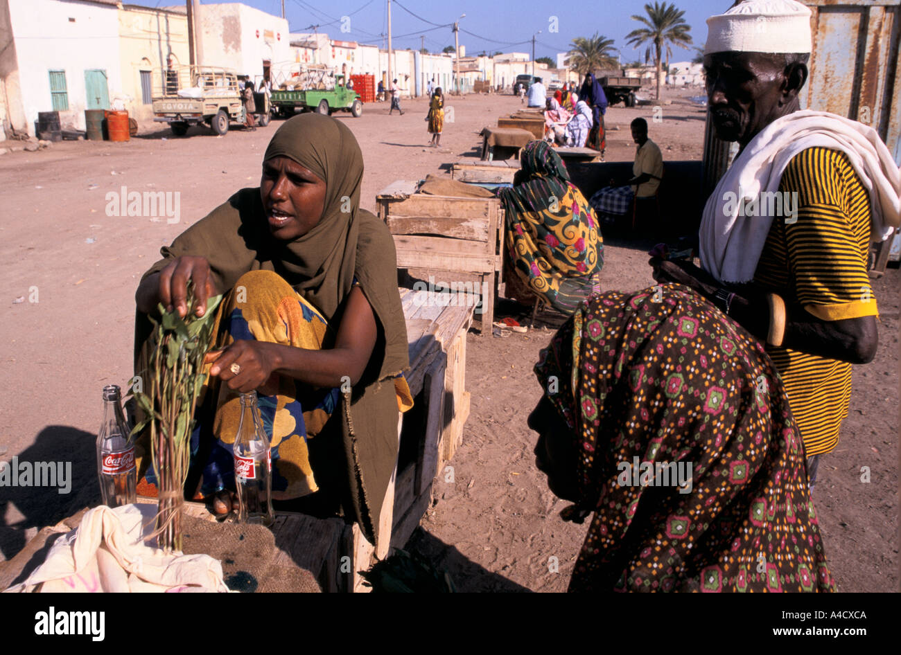 Women selling khat at the market in Tadjoura,   Republic of Djibouti - Stock Image