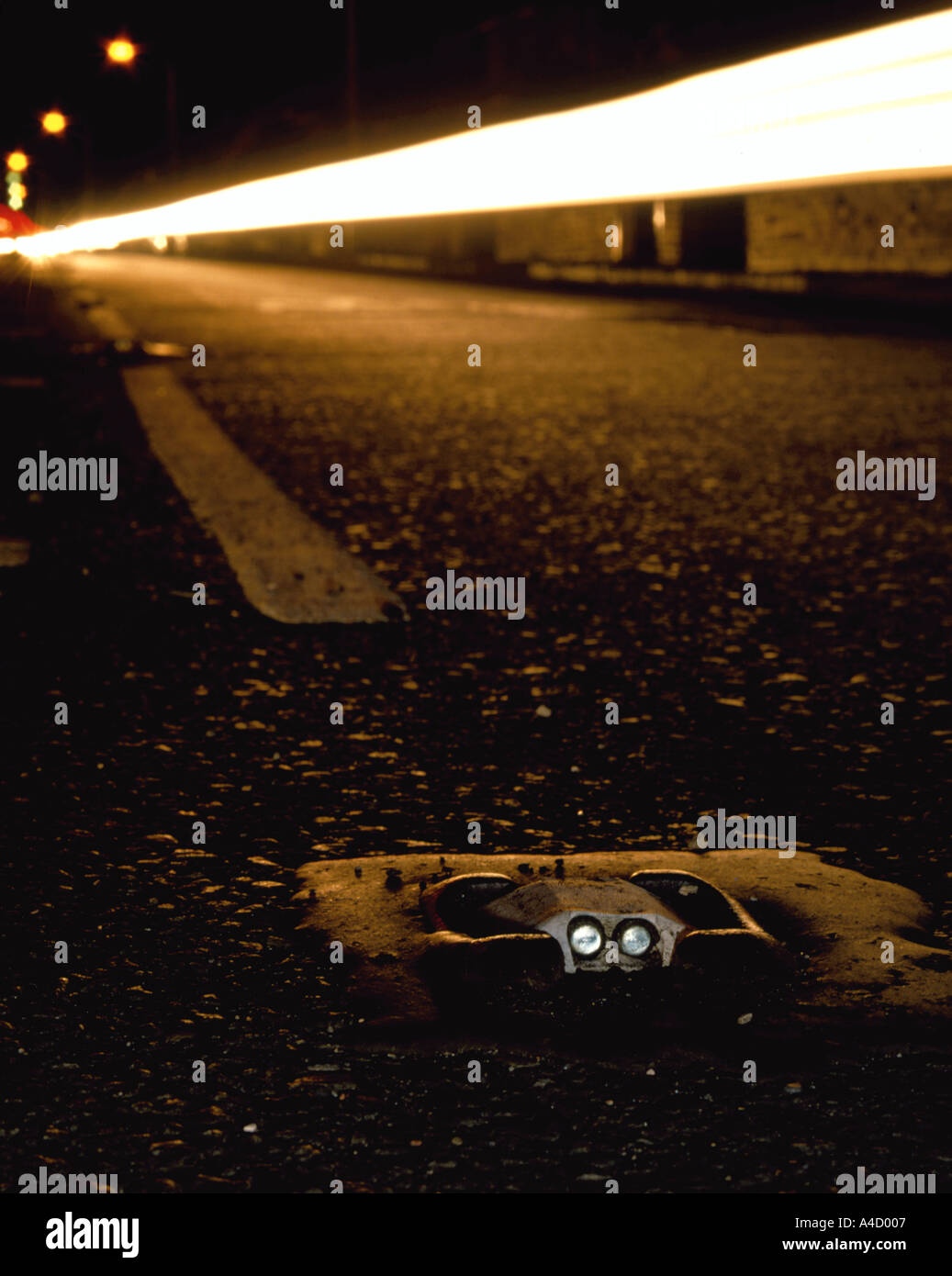 Cats Eyes Road >> Glass Cats Eyes In A Road At Night England Uk Stock Photo