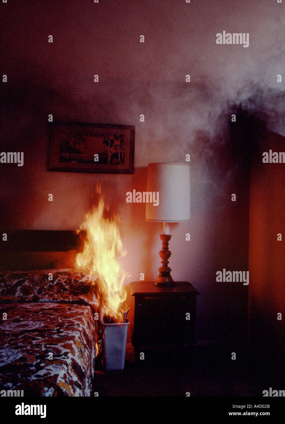 Fire In Bedroom Waste Basket Stock Photo: 315435   Alamy
