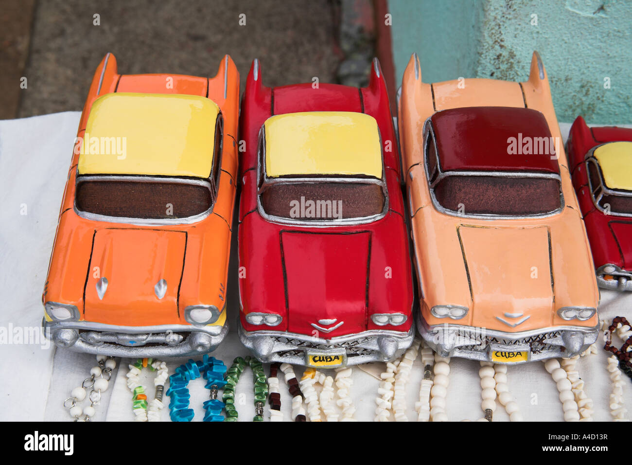 Three model classic American cars for sale in a market, Havana, Cuba ...