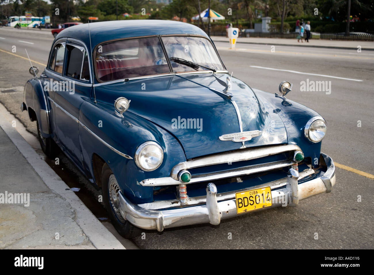 Old American Chevrolet car on the Avenue Carlos Manuel de Cespedes ...