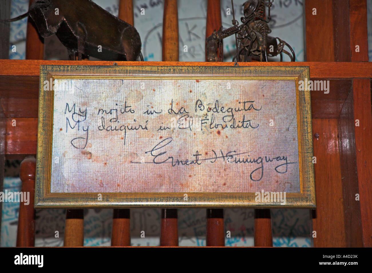Ernest Hemingway signature in frame, La Bodeguita del Medio, Calle ...