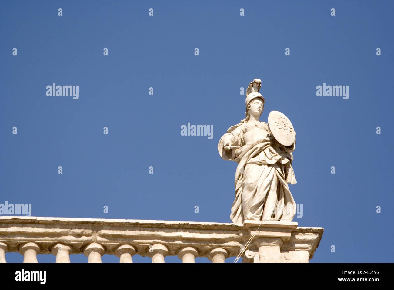 Statue of Minerva on Palazzo Maffei, Piazza delle Erbe, Verona, Italy - Stock Image