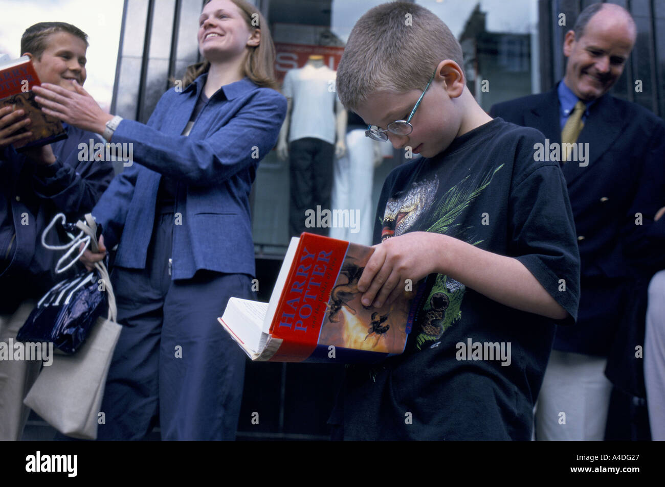 Fans of the Harry Potter books wait to meet author J K Rowling, to sign their books. 2000 - Stock Image