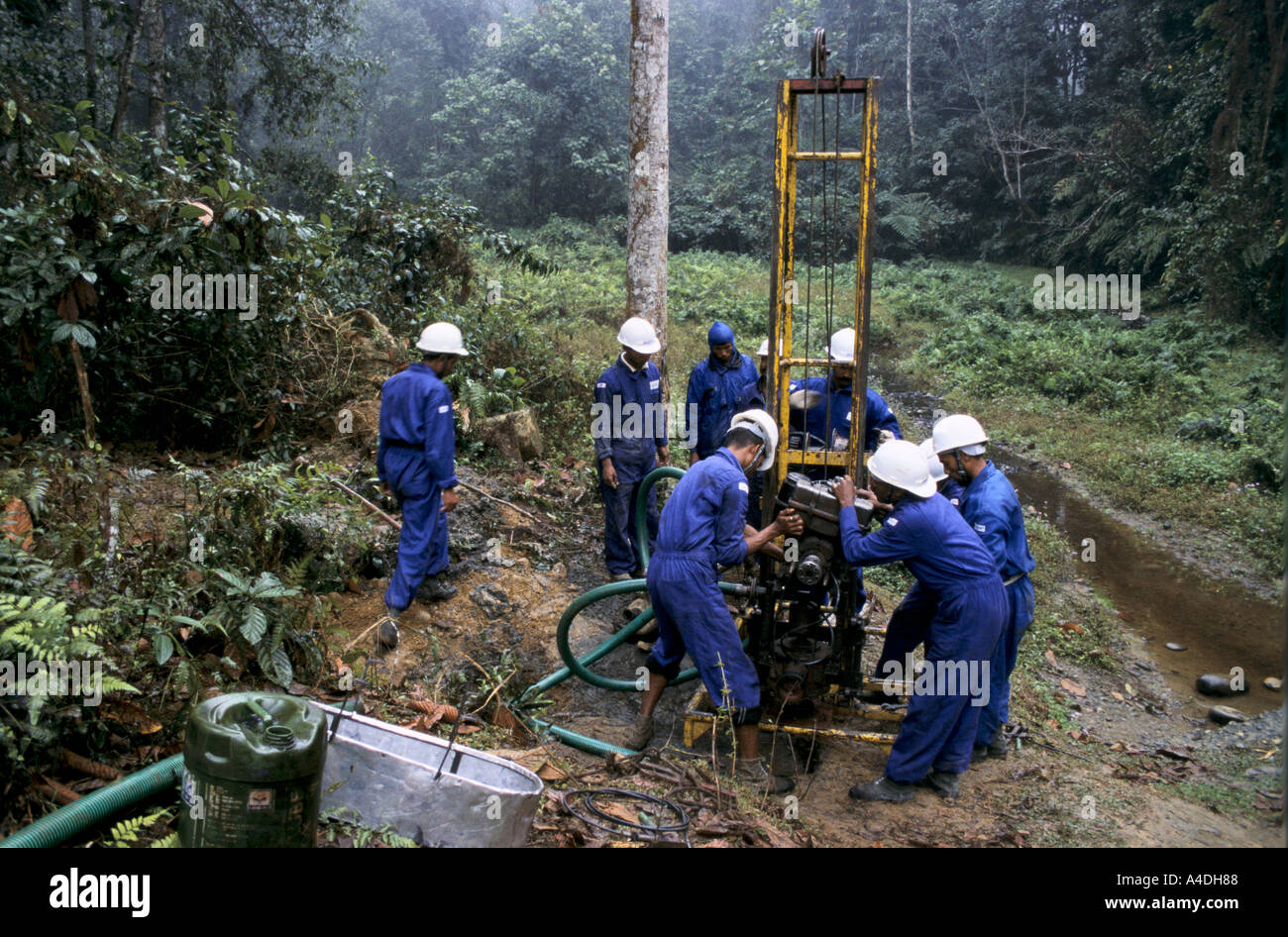 Geologists drilling as part of a seismic survey for oil and