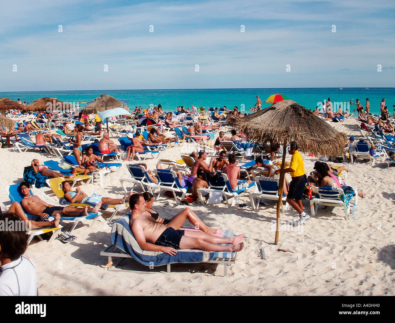 Christmas Vacation In Mexico.Crowded Beach At Christmas In Playa Del Carmen Cancun Mexico