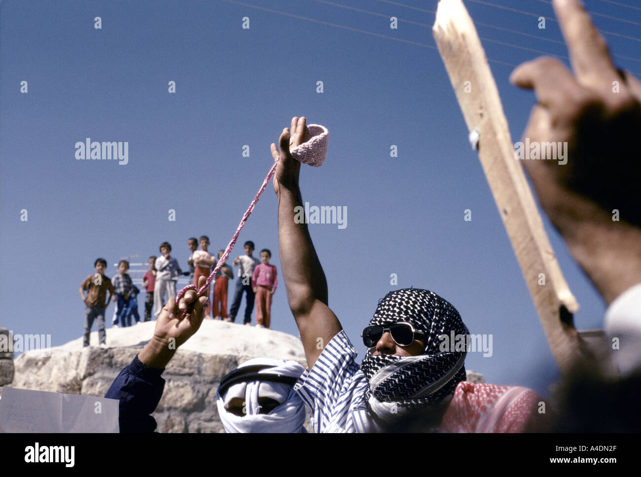 A palestinian intifada demonstration, Israel, 1988 - Stock Image