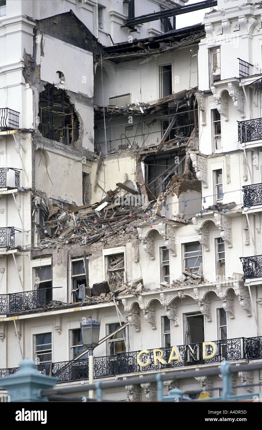 The aftermath of the Grand Hotel bomb, Brighton, 1984 Stock Photo ...