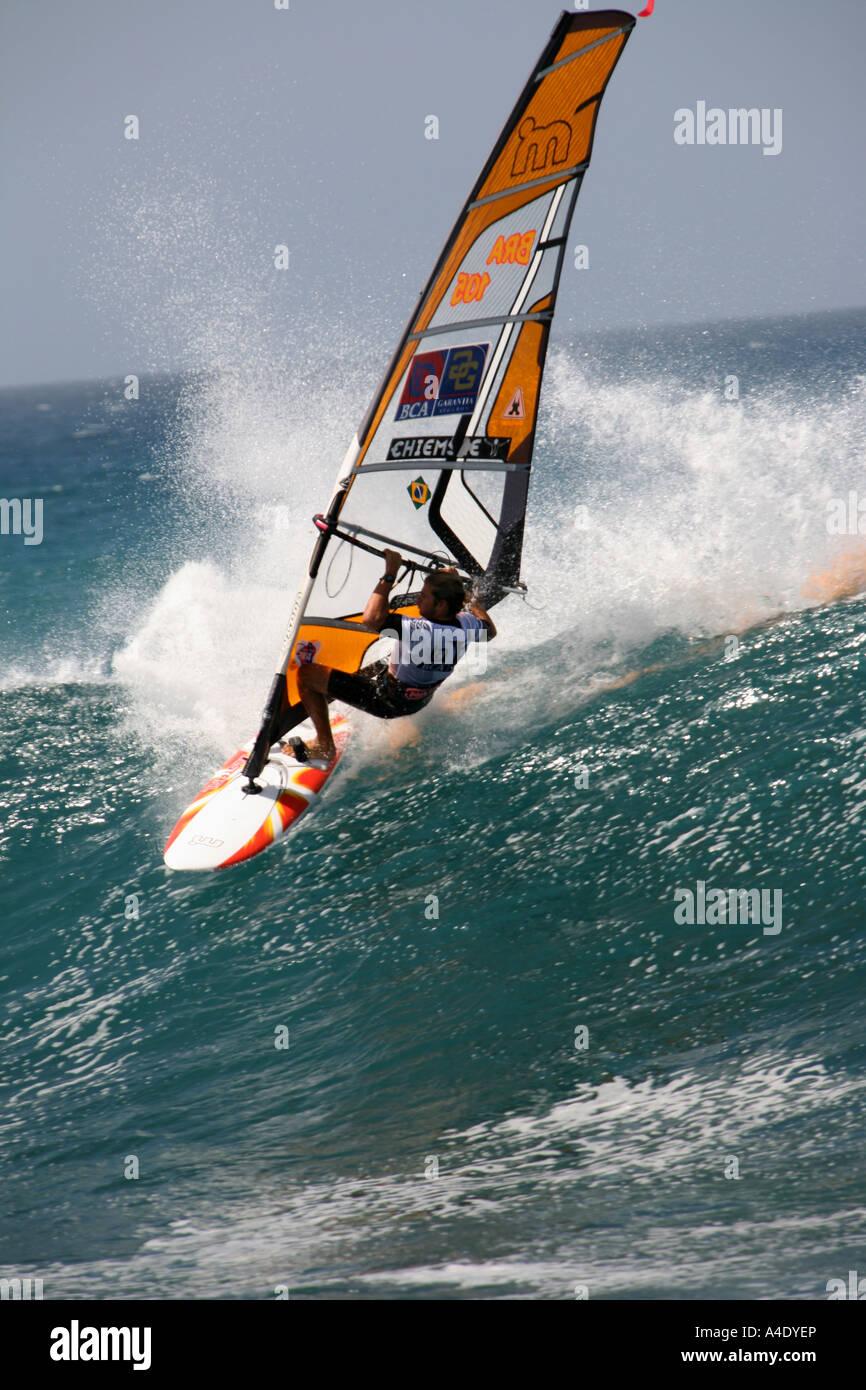 Wind surfing at Ponta Preta beach during the world champions 2007 Stock Photo