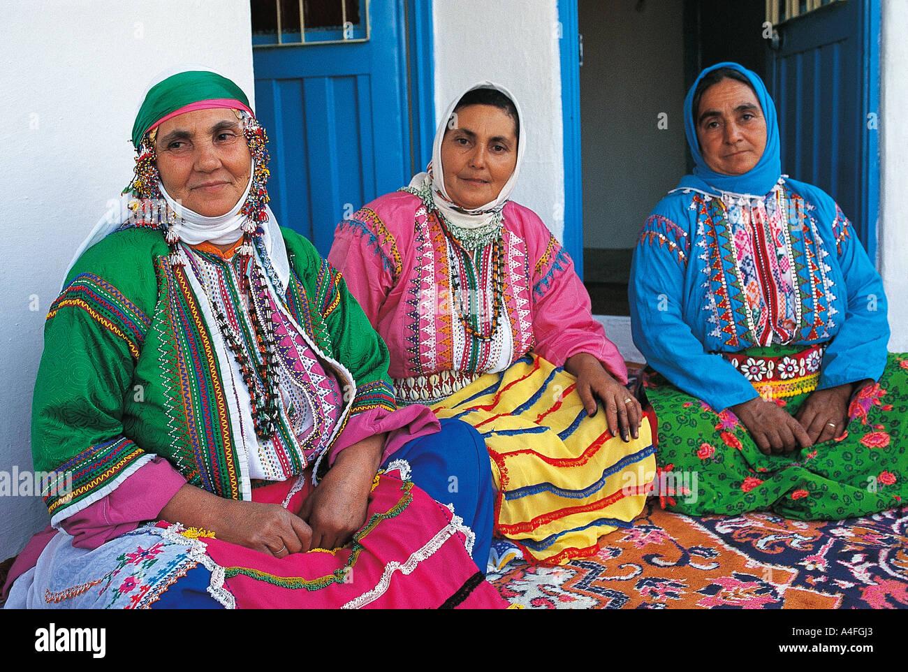 Turkmen Women In Traditional Clothes Bayindir Village Izmir Stock Photo Alamy