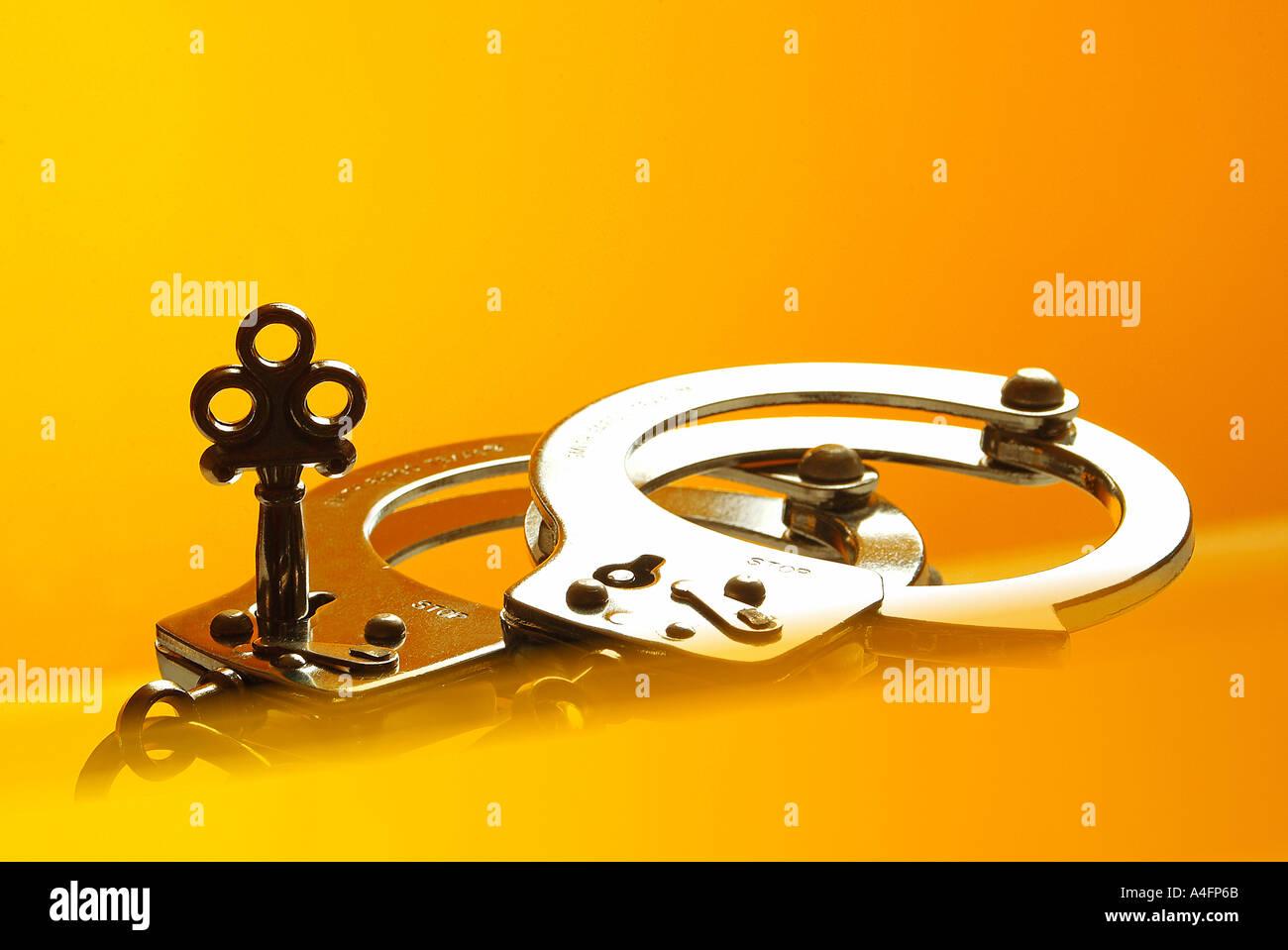 handcuffs Handschellen Stock Photo