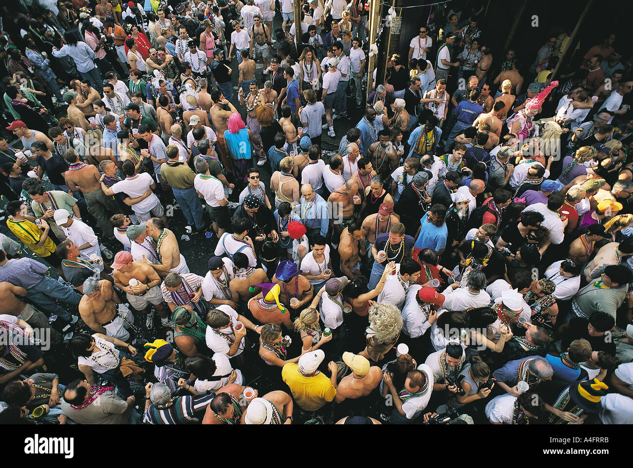 Crowd in Bourbon Street in Mardi Gras , New Orleans. - Stock Image